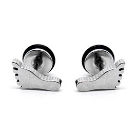 Pair Surgical Stainless Steel Silver Foot Print Bare Feet Earring Stud Mens/Lady's