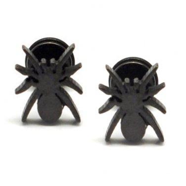 Pair Surgical Stainless Steel Black Spider Fake Ear Plug Earrings Stud Mens