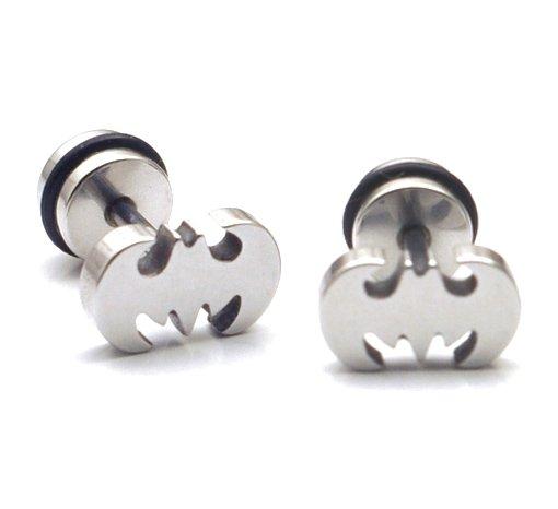 Pair Surgical Stainless Steel Silver Super Hero Batman Logo Fake Ear Plug Earrings Stud Punk/Rock