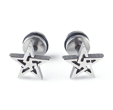 Pair Surgical Stainless Steel Silver Punk Rock Star Fake Ear Plug Earrings Stud Mens/Lady's