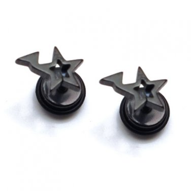 Pair Surgical Stainless Steel Black Lightning Star Fake Ear Plug Earrings Stud Mens/Lady's
