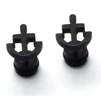 Pair Surgical Stainless Steel Black Sailor Anchor Fake Ear Plug Earrings Stud Mens/Lady's