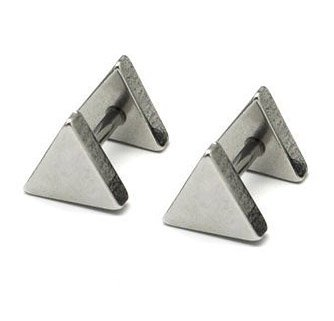 Pair Surgical Stainless Steel Silver Triangle Shape Fake Ear Plug Earrings Stud Mens/Lady's