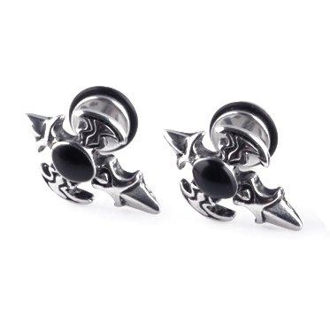 Pair Surgical Stainless Steel Hip Hop Men's Cross Vintage Anti-Allegic Stud Earrings