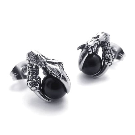 Pair Surgical Stainless Steel Eagle Dragon Claw w/ Black Crystal Men's Stud Earrings Punk Goth