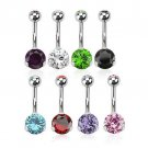 8Pcs/Lot Stainless Steel Navel Belly Ring Body Piercing w/ Double Gem CZ Curved Barbell Studs