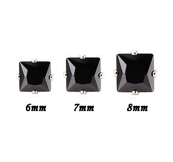 Set of 3 Pairs Surgical Stainless Steel Black Square CZ Stud Earrings Mens/Ladies