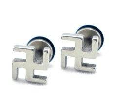 Pair Surgical Stainless Steel Buddhist Swastika Silver Earrings Stud Mens