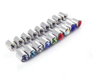 5 pair/Lot Surgical Stainless Steel Ear Piercing Barbell Earrings CZ Gem Stud 4mm