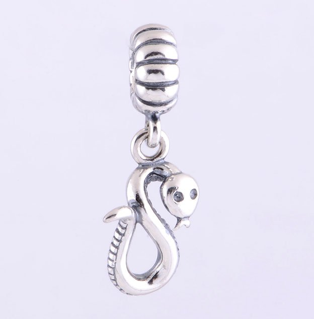 925 Sterling Silver Chinese Zodiac Snake Pendant - fits European Beads Bracelets