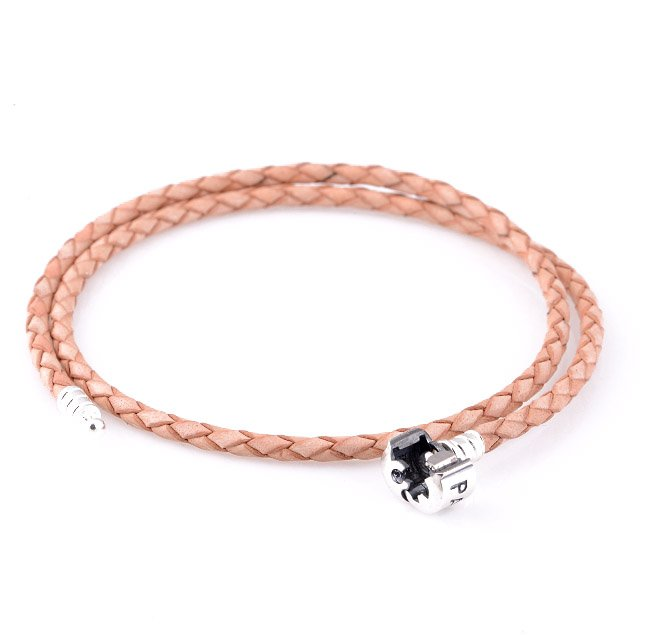 Double Light Brown Woven Leather Bracelet w/ Sterling Silver Clasp fits European Beads Charms