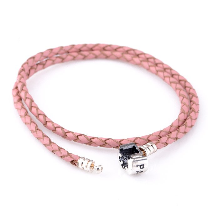 Double Pink Woven Leather Bracelet w/ Sterling Silver Clasp fits European Beads Charms