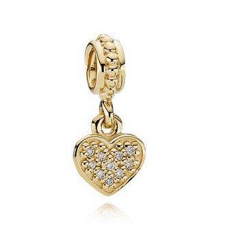 100% 14ct Gold Pave Brilliant Heart Love Pendant Charm - fits European Beads Bracelets