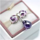 925 Sterling Silver LOVE YOU WITH PURPLE Charms Gift Set - fits European Beads Bracelets