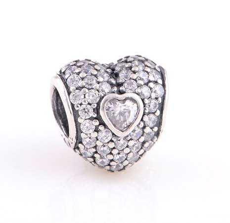925 Sterling Silver In My Heart Pave w/ Clear CZ Love Charm - fits European Beads Bracelets