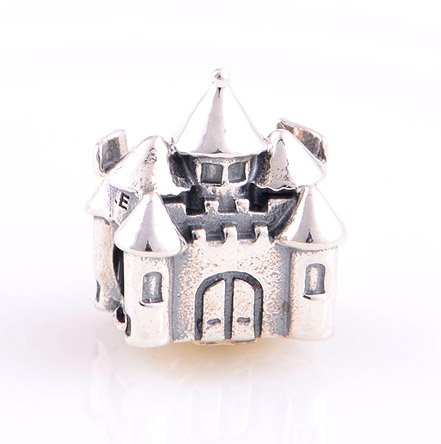 925 Sterling Silver Happily Ever After Castle Charm - fits European Beads Bracelets