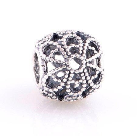 925 Sterling Silver Roses Flower Charm - fits European Beads Bracelets