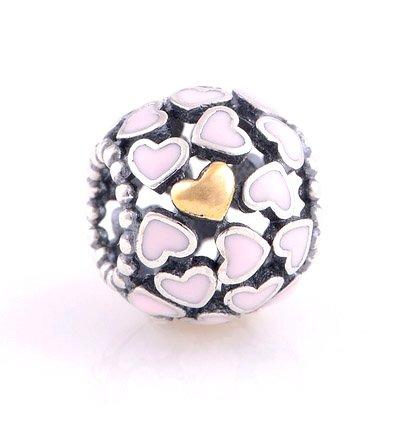 925 Sterling Silver Abundance Of Love Pink Enamel Charm - fits European Beads Bracelets