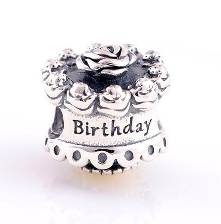 925 Sterling Silver Happy Birthday Charm - fits European Beads Bracelets