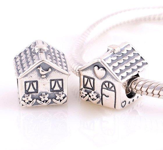 925 Sterling Silver Home Sweet Home Charm - fits Biagi/Pandora/Troll/All European Bracelets