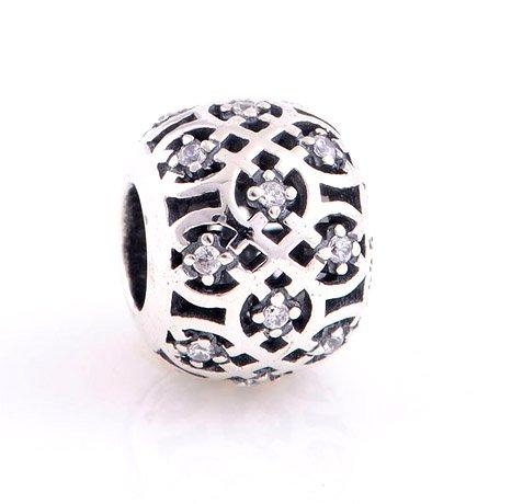925 Sterling Silver Openwork Intricate Lattice w/ CZ Charm fits European Beads Bracelets