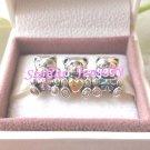 925 Sterling Silver TEDDY BEARS Charms Gift Set - fits European Beads Bracelets