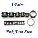 3 Pairs Black Surgical Stainless Steel Screw Back Ear Gauges Flesh Tunnel Plug Stretcher Expander