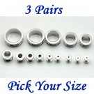 3 Pairs Silver Surgical Stainless Steel Screw Back Ear Gauges Flesh Tunnel Plug Stretcher Expander