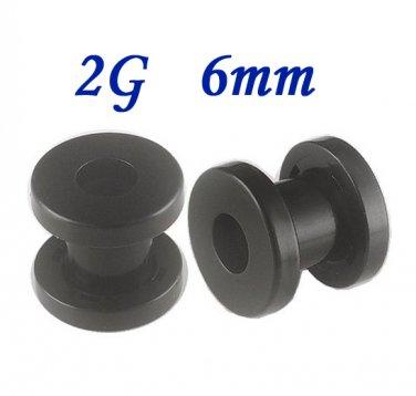 Pair 2G 6mm Black 316L Surgical Steel Flesh Tunnels Screw Ear Gauges Plug Stretcher Expander