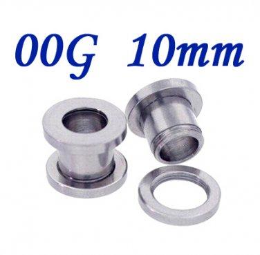 Pair 00G 10mm 316L Surgical Steel Flesh Tunnels Screw Ear Gauges Plug Stretcher Expander