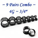 ~9 Pairs Combo~ Black 316L Surgical Steel Double Flare Screw Ear Gauges Tunnel Plug Kit Stretchers