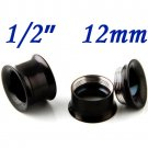 "Pair 1/2"" 12mm Black 316L Surgical Steel Double Flare Threaded Tunnel Ear Plugs Expander Stretcher"