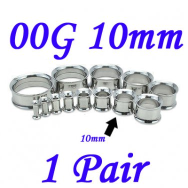 Pair 00G 10mm 316L Surgical Steel Double Flare Threaded Tunnels Ear Plugs Expanders Stretchers