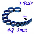 Pair 4G 5mm Blue 316L Surgical Steel Double Flare Threaded Tunnels Ear Plugs Expanders Stretchers