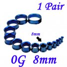 Pair 0G 8mm Blue 316L Surgical Steel Double Flare Threaded Tunnels Ear Plugs Expanders Stretchers