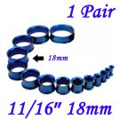 """Pair 11/16"""" 18mm Blue 316L Surgical Steel Double Flare Threaded Tunnels Ear Plug Expander Stretcher"""