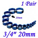 "Pair 3/4"" 20mm Blue 316L Surgical Steel Double Flare Threaded Tunnels Ear Plugs Expanders Stretchers"