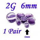 Pair 2G 6mm Double Flare Clear Acrylic Purple Liquid Glitter Saddle Plug