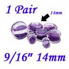 "Pair 9/16"" 14mm Double Flare Clear Acrylic Purple Liquid Glitter Saddle Plug"