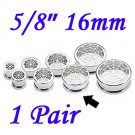 """Pair 5/8"""" 16mm 316L Surgical Steel Screw Fit Tunnels Spider Web Design Ear Plugs Earlets Gauges"""