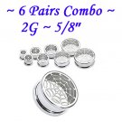 ~6 Pairs Combo~ 316L Surgical Steel Screw Fit Tunnels Spider Web Design Ear Plugs Kit Earlets Gauges