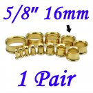 """Pair 5/8"""" 16mm Gold 316L Surgical Steel Double Flare Threaded Tunnel Ear Plugs Expander Stretcher"""