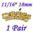"Pair 11/16"" 18mm Gold 316L Surgical Steel Double Flare Threaded Tunnel Ear Plugs Expander Stretcher"