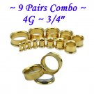 ~9 Pairs Combo~ Gold 316L Surgical Steel Double Flare Screw Ear Gauges Tunnel Plug Kit Stretchers