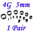 Pair 4G 5mm Black Single Flare 316L Surgical Steel Flesh Tunnels Ear Plug Expanders Gauges