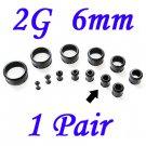 Pair 2G 6mm Black Single Flare 316L Surgical Steel Flesh Tunnels Ear Plug Expanders Gauges