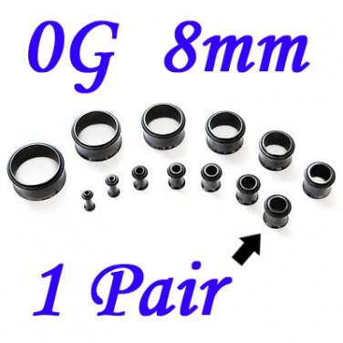 Pair 0G 8mm Black Single Flare 316L Surgical Steel Flesh Tunnels Ear Plug Expanders Gauges
