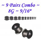 ~8 Pairs Combo~ Black Single Flare 316L Surgical Steel Flesh Tunnels Ear Plug Kit Expanders Gauges