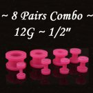 ~8 Pairs Combo~ Red Acrylic UV Fresh Tunnels / Earlet Ear Plugs Body Jewelry