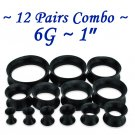 ~12 Pairs Combo~ Black Soft Flexible Silicon Earskin Ear Tunnel Plugs Double Flared 4 to 25mm